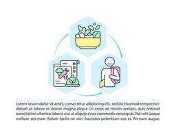 ícones de linha do conceito de refeição escolar com texto. modelo de vetor de página ppt com espaço de cópia. folheto, revista, elemento de design de boletim informativo. alimentos nutritivos para estudar ilustrações lineares em branco