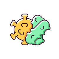 ícone de cor rgb de bactérias e vírus. células de infecção viral que propagam doenças e enfermidades perigosas. fonte de problemas de saúde. ilustração vetorial isolada vetor