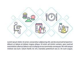 ícones de linha do conceito de refeição escolar com texto. modelo de vetor de página ppt com espaço de cópia. folheto, revista, elemento de design de boletim informativo. lanches saudáveis para alunos ilustrações lineares em branco