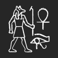 desenhos de parede egípcios giz ícone branco sobre fundo preto. pintura mural. decoração de paredes com relevos. retratando a vida diária dos egípcios antigos. ilustração vetorial isolado quadro-negro vetor