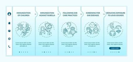 modelo de vetor de integração de medidas preventivas de perda auditiva. site móvel responsivo com ícones. passo a passo da página da web telas de 5 etapas. triagem para conceito de cor de doenças com ilustrações lineares