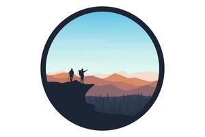 alpinistas com camiseta veem a paisagem da atmosfera vetor