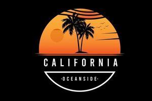 Califórnia, perto do oceano, cor laranja branco vetor