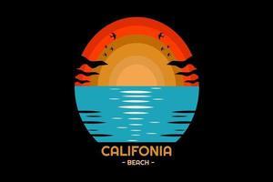praia da califórnia cor laranja e azul vetor