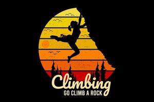 escalada vá a escalada rocha cor amarela e laranja vetor