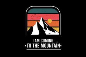 Eu estou indo para a montanha cor verde vermelho e laranja vetor