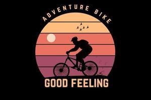 t-shirt aventura bicicleta sensação boa cor amarelo e laranja vetor
