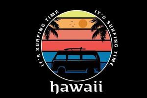camiseta é hora do surf havaí cor amarelo laranja e azul vetor