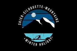 esqui silhueta montanhas férias de inverno cor azul e preto vetor