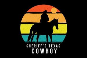 xerife texas cowboy cor laranja amarelo e verde vetor