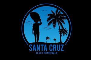 calçadão da praia de santa cruz cor azul vetor