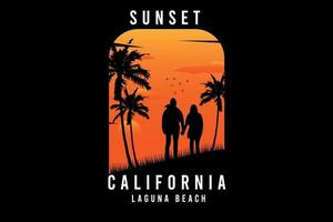 sunset california lagoon beach color laranja e amarelo vetor