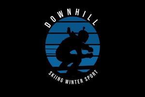 esqui alpino esporte de inverno cor azul e preto vetor