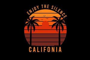 aproveite o silêncio califórnia cor laranja e vermelho vetor