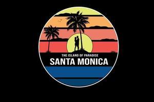 camiseta da ilha do paraíso santa monica cor amarelo laranja e azul vetor