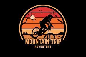 aventura na montanha cor laranja e amarelo vetor