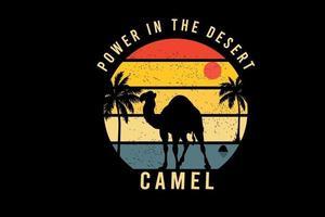 poder no deserto camelo cor amarelo laranja e azul vetor
