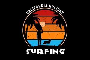 férias na califórnia surfe amarelo e azul laranja vetor