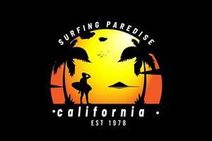 surf paradise california est 1978 cores laranja e preto vetor