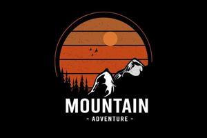 aventura na montanha cor laranja e branco vetor