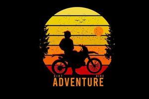 moto sujeira aventura cor amarelo laranja e vermelho vetor