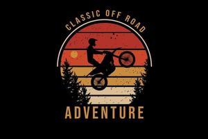 aventura off-road clássica cor laranja e amarelo vetor