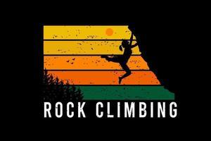 escalada em rocha cor amarelo e laranja verde vetor