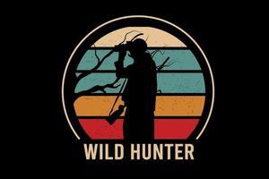 caçador selvagem cor verde laranja e vermelho vetor