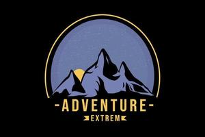 t-shirt aventura extrema cor roxa e amarela vetor