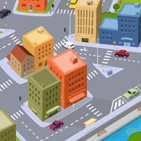 Tráfego da cidade dos desenhos animados vetor