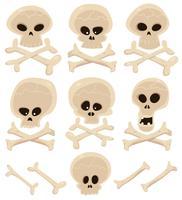 Conjunto de caveira e ossos cruzados vetor