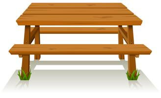 Mesa de madeira para piquenique vetor
