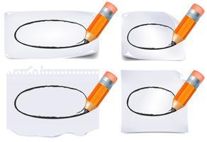 Notas de papel de escritório e conjunto de caneta vetor