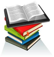 Pilha de livro e Tablet PC vetor