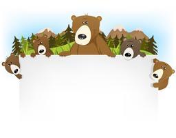 Fundo de família urso fofo vetor