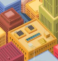 Telhados de edifícios - vista aérea vetor
