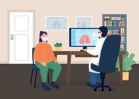 médico e paciente em máscaras ilustração vetorial de cor lisa vetor