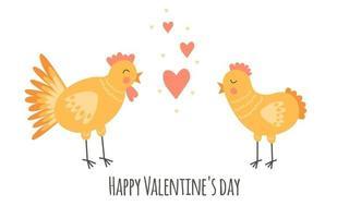 berçário impressão bonita com galinhas e corações. feliz Dia dos namorados. 14 de fevereiro. amarelo, rosa, laranja. vetor