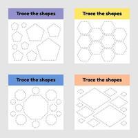 planilha de rastreamento educacional para crianças do jardim de infância, pré-escola e idade escolar. trace a forma geométrica. linhas tracejadas. vetor