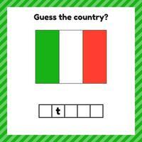 planilha sobre geografia para crianças em idade pré-escolar e escolar. palavras cruzadas. bandeira da itália. cuessar o país. vetor