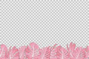 ilustração vetorial. planta rosa tropical exótica. monstera folhas em um fundo transparente. padrão sem emenda vetor