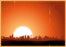 Cidade do nascer do sol de verão vetor
