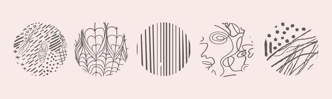 vetor desenhado à mão conjunto com padrões ou fundos pretos abstratos isolados redondos. várias formas de doodle para capas de destaque, pôsteres, modelos de ícones de mídia social.