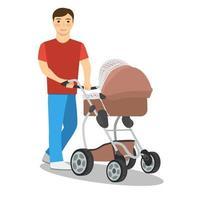 ilustração de um homem e um carrinho de bebê em um fundo branco vetor