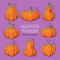 ilustrações desenhadas à mão do vetor. símbolo realista de halloween - abóbora. vetor