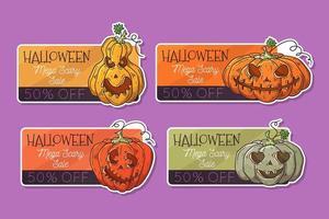 vetor desenhado à mão etiquetas de halloween com abóboras.
