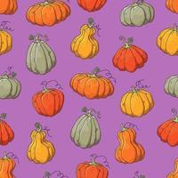 mão desenhada vetor padrão com abóboras de halloween.