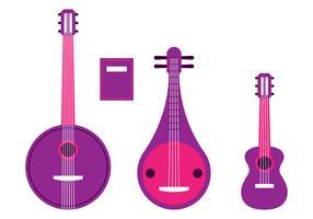 Instrumentos de Cordas Knolling Set vetor
