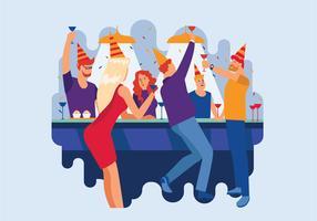 Desfrutando de grande festa e encontro. Jovens, olhar, feliz vetor