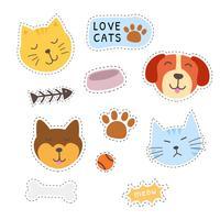 Gato e cachorro adesivos vetoriais coleção